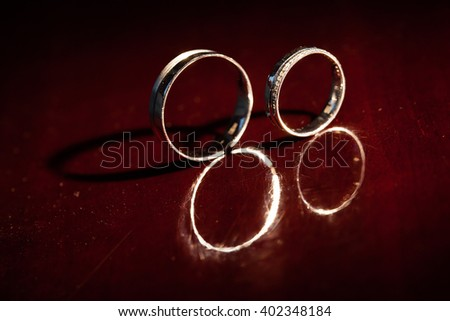 Wedding rings are on a red background