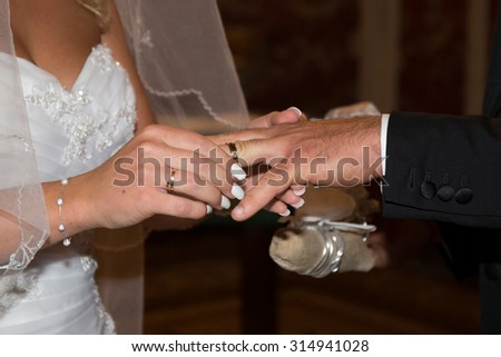 Wedding rings at wedding day