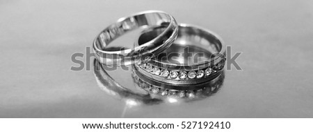Wedding rings, black and white