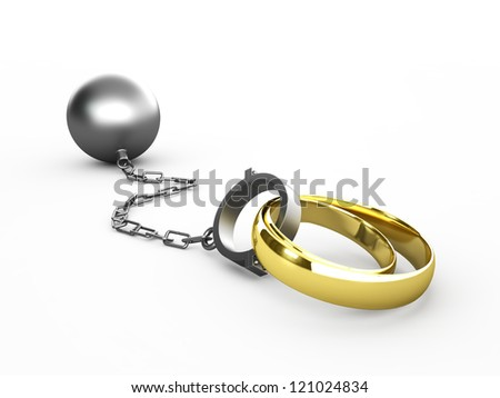 Wedding rings chained in shackles isolated in white - stock photo