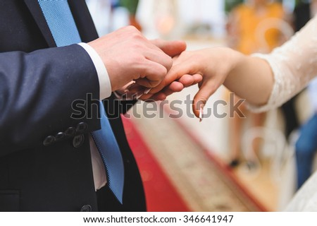 wedding rings exchange at ceremony