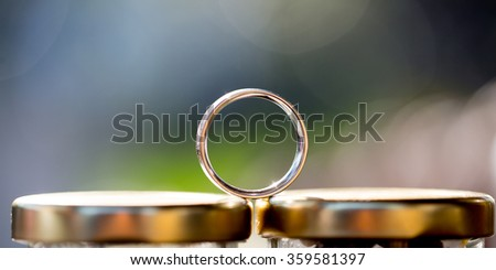 wedding rings for bride and groom in wedding ceremony