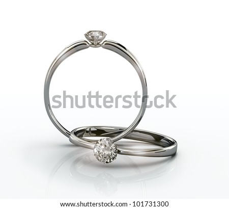 Wedding Rings  gift isolated. Close Up of a White Gold Ring with Diamonds. High quality 3d render. - stock photo