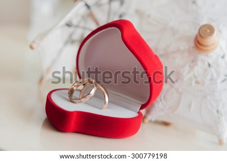 Wedding rings in a box - stock photo