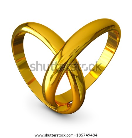 Wedding rings in a heart shape on white background