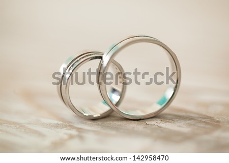 Wedding rings in close-up.