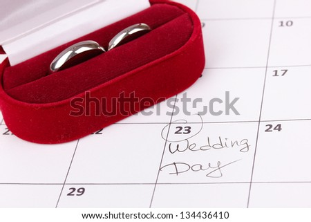 Wedding rings in red box isolated on white