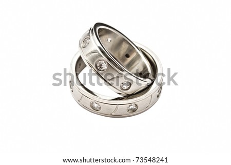 Wedding rings of Forever Love isolated on white background - stock photo