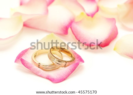 Wedding rings on a red rose petal - stock photo