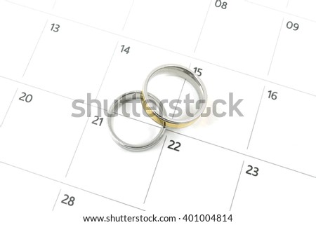 wedding rings on calender date