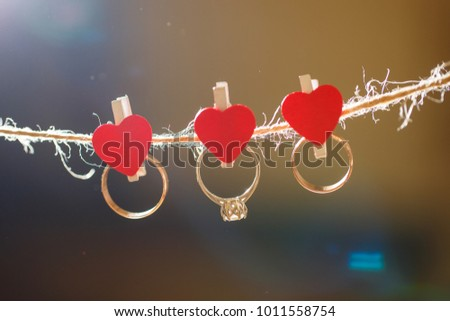 Wedding rings on clothes pegs with hearts