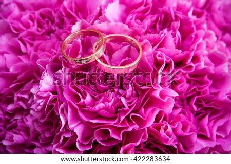 Wedding rings on pink flowers. - stock photo