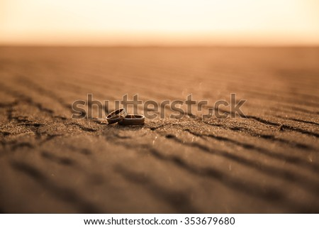 Wedding Rings on the Tropical Beach  - stock photo