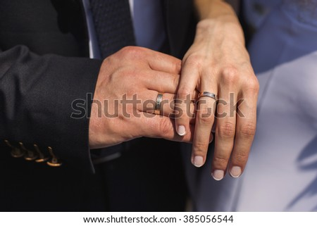 wedding rings on their hands, a ring on the finger the bride and groom with rings