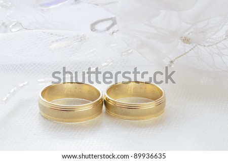Wedding rings on veil