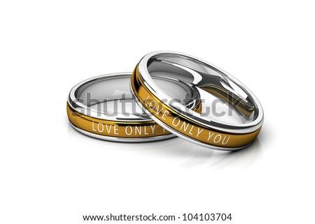 wedding rings Platinum and Gold isolated on white background - stock photo