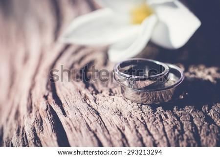 wedding rings,vintage tone - stock photo