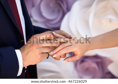 Wedding Rings Wedding Day Hands Bride Stock Photo Download Now