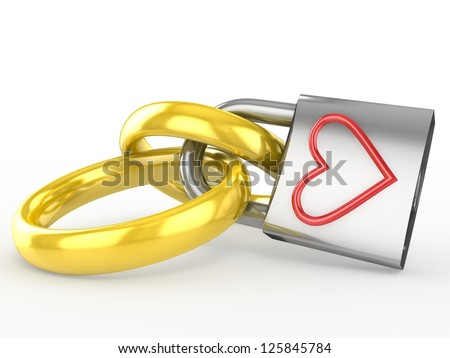 Wedding rings with a lock. Eternal love concept - stock photo