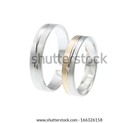 wedding rings with little diamonds, on white background