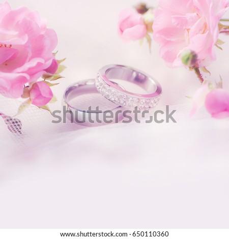 Wedding Rings Roses Stock Photo 650110360 Shutterstock