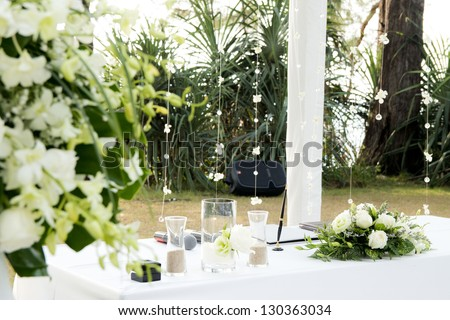 wedding set up in garden inside beach - stock photo