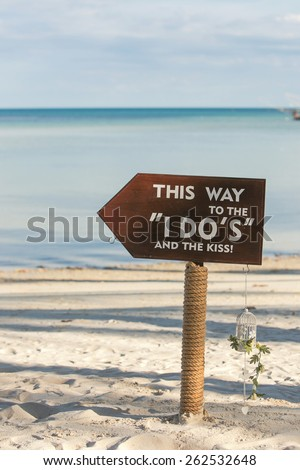 wedding setting on the beach - stock photo