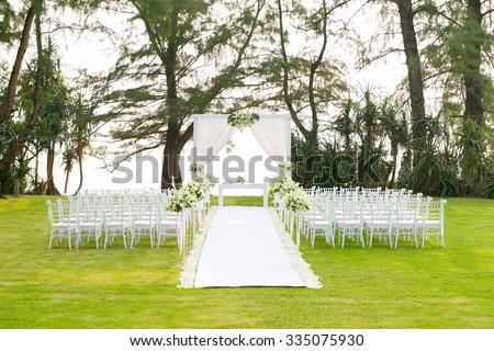 Wedding setup in garden - stock photo
