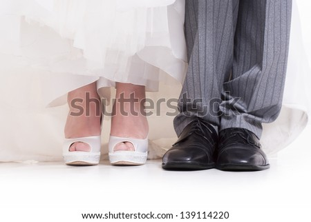 Wedding shoes details on white background
