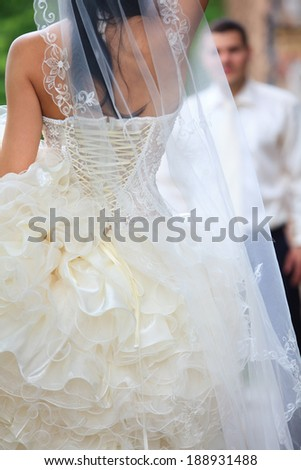 wedding shot of bride and groom - stock photo