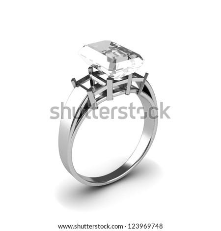 Wedding silver diamond ring isolated on white background - stock photo