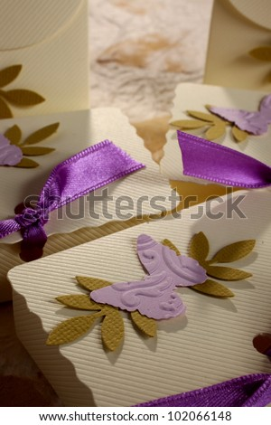 wedding - small box used to hold sugared almonds - stock photo