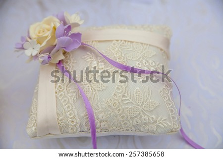 wedding small satin pillow for rings - stock photo