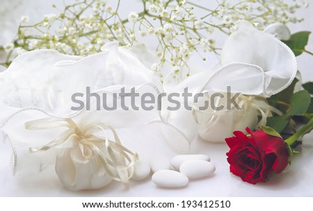 Wedding still life with red rose  - stock photo