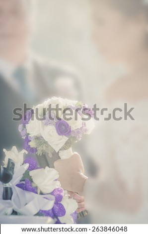 Wedding style abstract blur background bride and groom with bokeh - stock photo