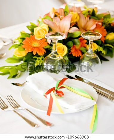 Wedding Table decorated - stock photo
