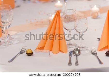 Wedding table decoration. selective focus - stock photo
