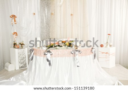 wedding table for the bride and groom - stock photo
