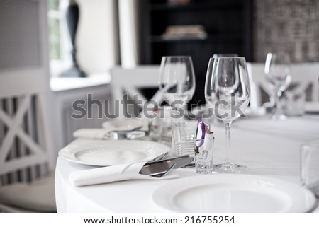 wedding table in the restaurant - stock photo