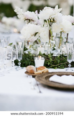 Wedding Table Ready For Dinner Celebration Party - stock photo