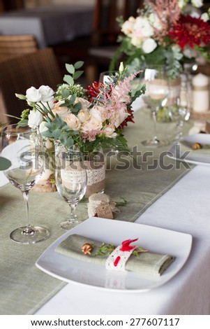 wedding table served in a rustic style, close up