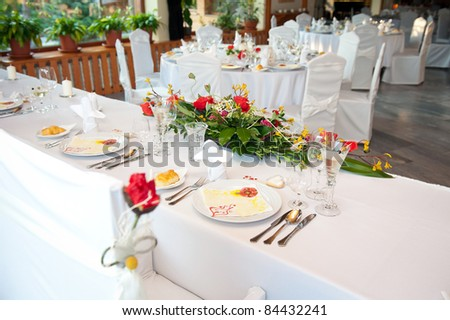 wedding table set for bride and groom - stock photo
