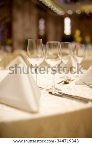 Wedding table set up with wine glasses