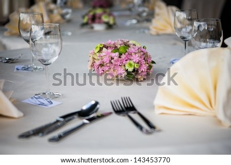 Wedding table setting at a banquet