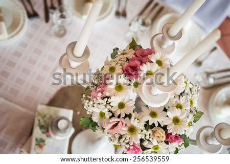 Wedding table setting decoration candle holder white candle flowers. : wedding table settings with candles - pezcame.com