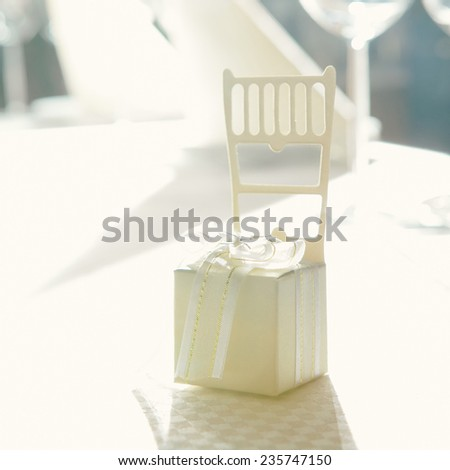 wedding table setup. Gift for guests. Close up. Shallow dof.  - stock photo