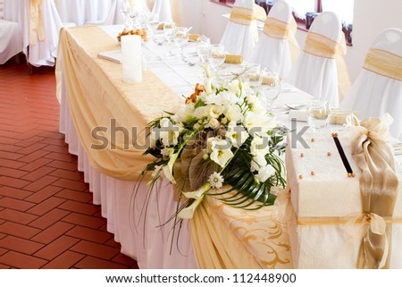 wedding table with flowers - stock photo