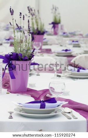wedding tables set for fine dining or another catered event