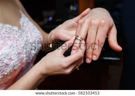 Wedding Girl Wears Engagement Ring On Stock Photo Royalty Free