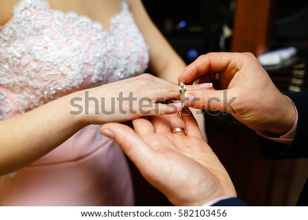 Wedding Girl Wears Engagement Ring On Stock Photo 100 Legal